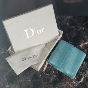 """Lady Dior Baby Blue Wallet with """"D"""" Charm"""